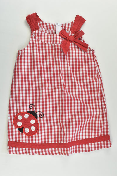 Ollie's Place Size 3 Checked Ladybird Dress