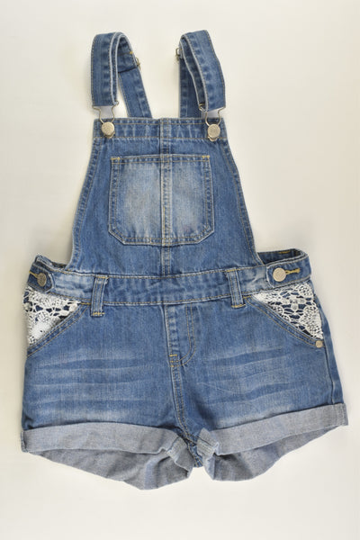 Pavement Size 10 Short Denim Overalls with Lace Detail