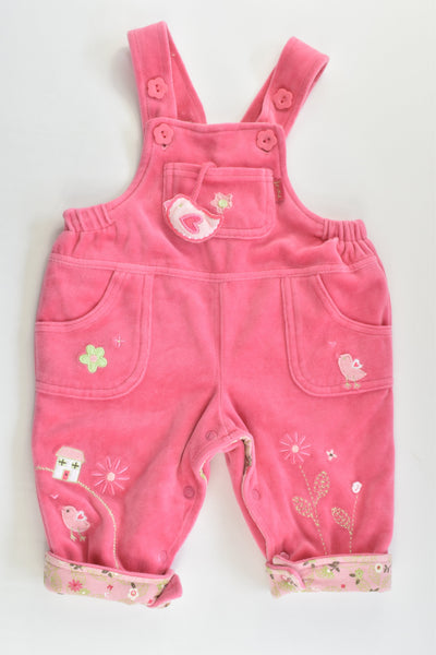 Pumpkin Patch Size 00 (3-6 months) Birds and Flowers Lightly Padded and Lined Velour Overalls