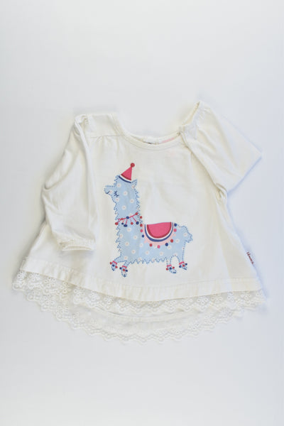 Pumpkin Patch Size 000 (0-3 months) Llama Top/Tunic with Lace Hem