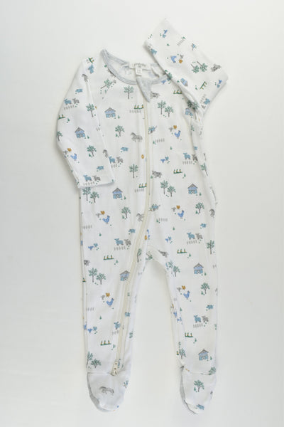 Purebaby Size 00 (3-6 months) Farm Footed Romper