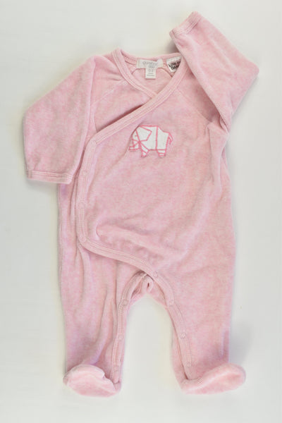 Purebaby Size 000 (0-3 months) Velour Elephant Footed Romper