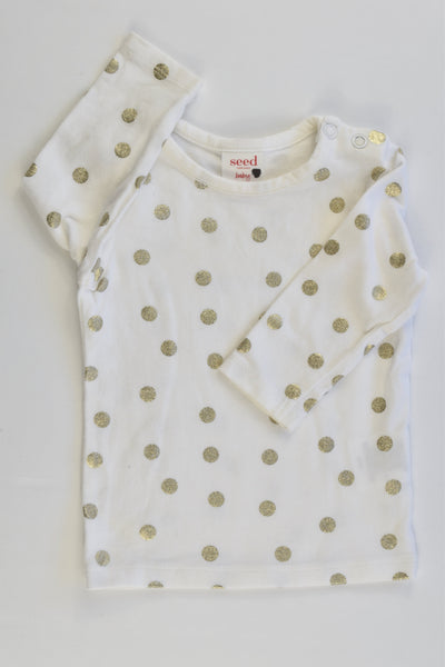 Seed Heritage Size 000 (0-3 months) Golden Polka Dots Top