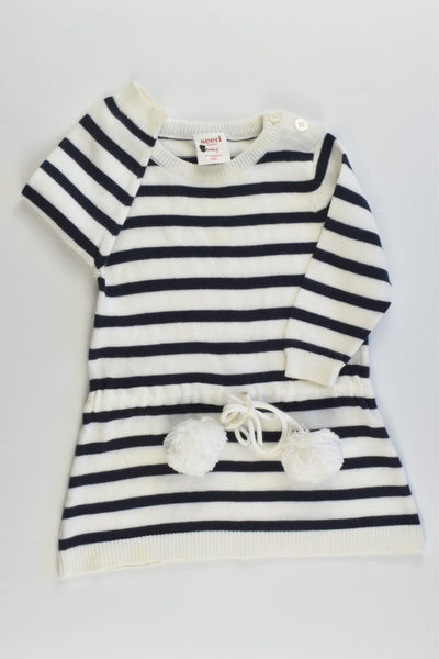 Seed Heritage Size 000 (0-3 months) Striped Knitted Dress with Pom Pom Belt