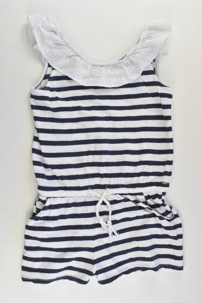 Seed Heritage Size 7 Striped Playsuit with Lace Collar
