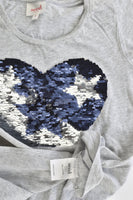 Seed Heritage Size 8 Reversible Sequins Love Heart T-shirt
