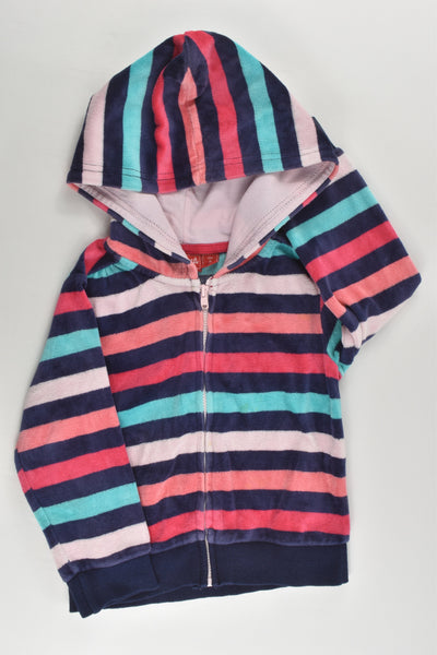 Sprout Size 2 Hooded Striped Velour Jumper