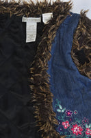 Stix n Stones Size 4 Lightly Padded Denim Vest with Floral Embroidery