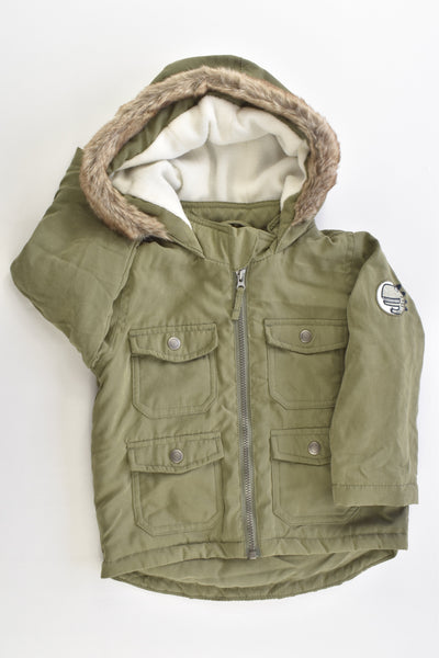 Target Size 1 (12-18 months) Lightly Padded Hooded Jacket with Dinosaur Patch