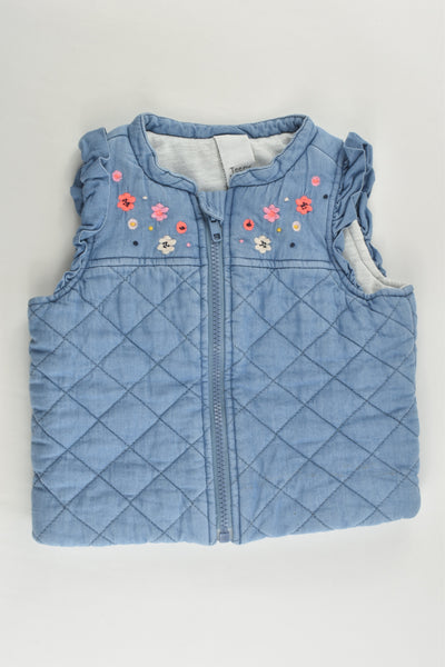 Teeny Weeny Size 0 (9-12 months) Padded Denim Vest with Floral Embroidery