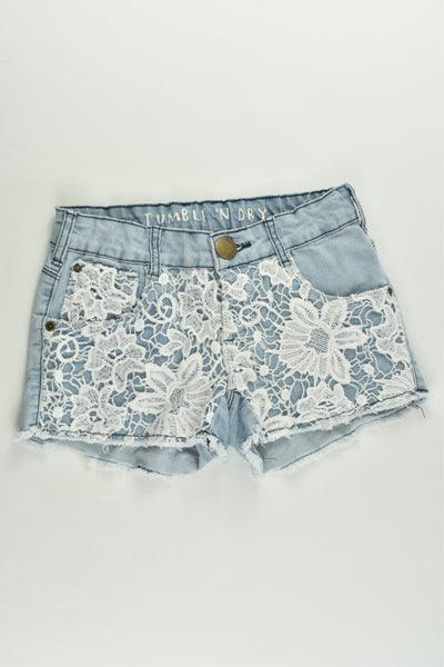 Tumble N' Dry Size 9/10 (140 cm) Stretchy Lace Denim Shorts
