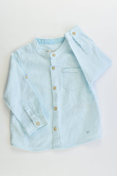 Zara Size 0 (9-12 months, 80 cm) 'Good Vibes!' Cotton/Linen Shirt