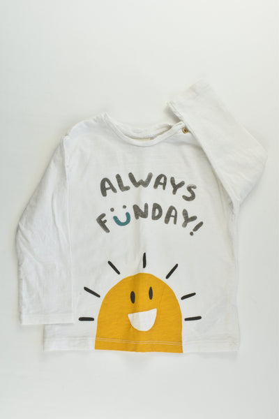 Zara Size 1 (12/18 months) 'Always Funday' Top