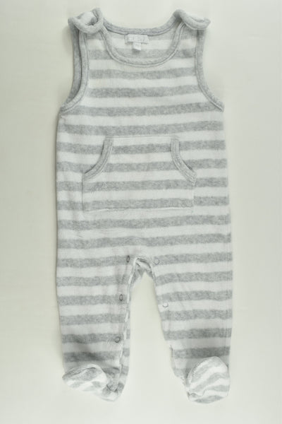 Zip Zap (Spain) Size 00 (6 months, 68 cm) Striped Footed Velour Overalls