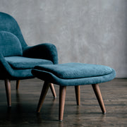 Amélie - Lounge Chair with Ottoman in Cashmere Velvet