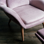 Amélie - Lounge Chair with Ottoman in Silk Velvet