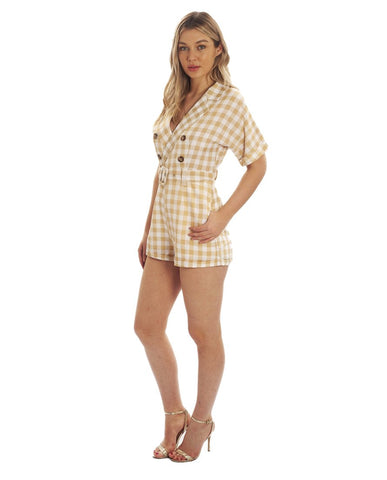 Hire Beige Checked Playsuit