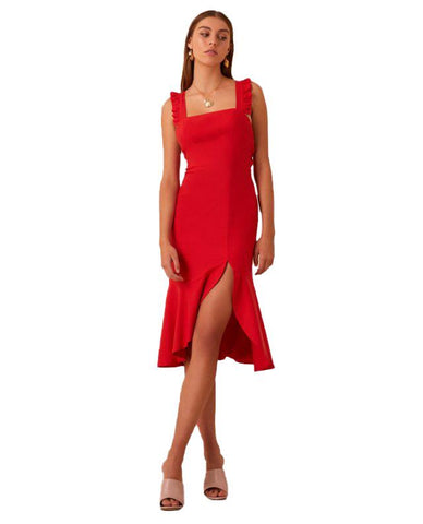 HIRE FINDERS KEEPERS RED MIDI WITH THIGH SPLIT