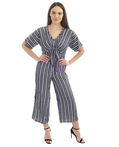 Hire Knot Front Striped Jumpsuit
