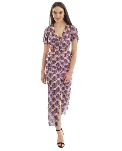 HIRE PURPLE FLORAL BOHO MAXI WITH CUT OUT BACK