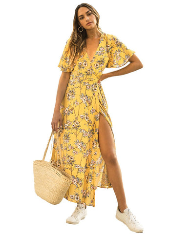Hire Seven Wonders Yellow Floral Wrap Dress