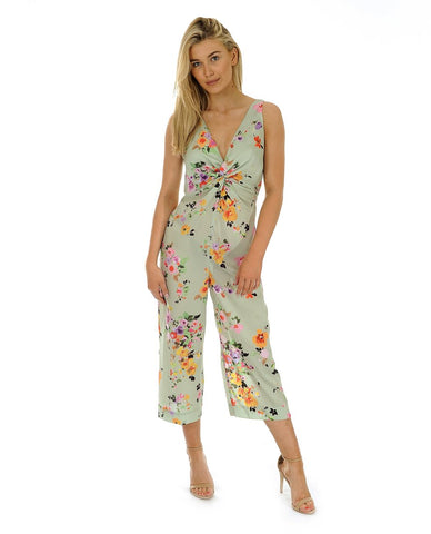Hire Zara Green Floral Satin Jumpsuit