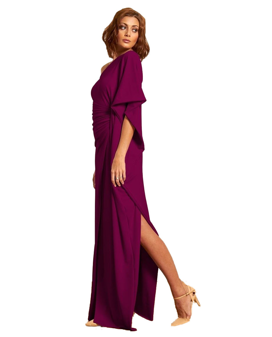 GORGEOUS COUTURE MAGENTA ONE SHOULDERED MAXI DRESS