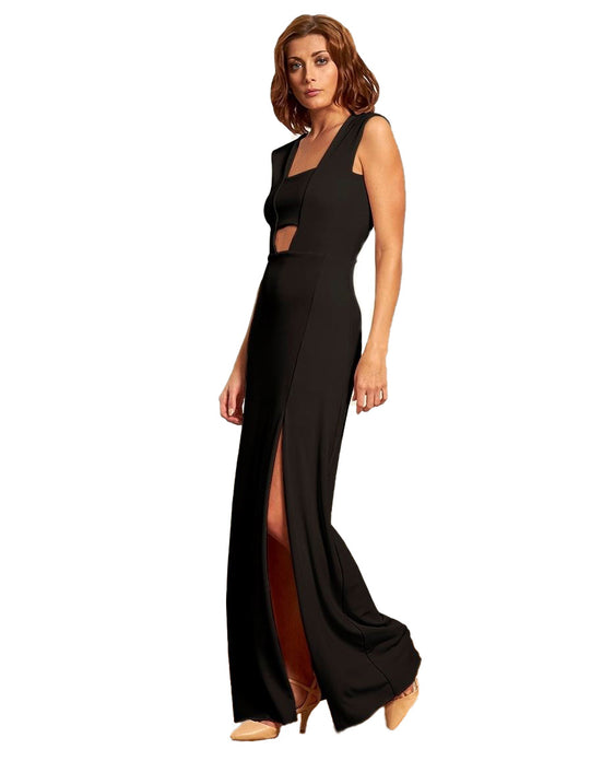 GORGEOUS COUTURE BLACK MAXI DRESS WITH BANDEAU FRONT