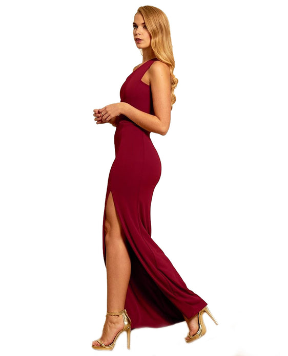 GORGEOUS COUTURE RED ONE SHOULDER MAXI DRESS