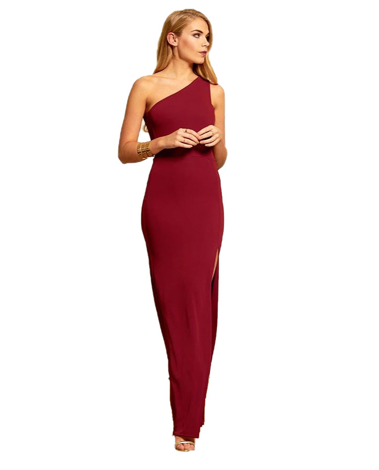 GORGEOUS COUTURE BURGUNDY ONE SHOULDER MAXI DRESS WITH SIDE SPLIT