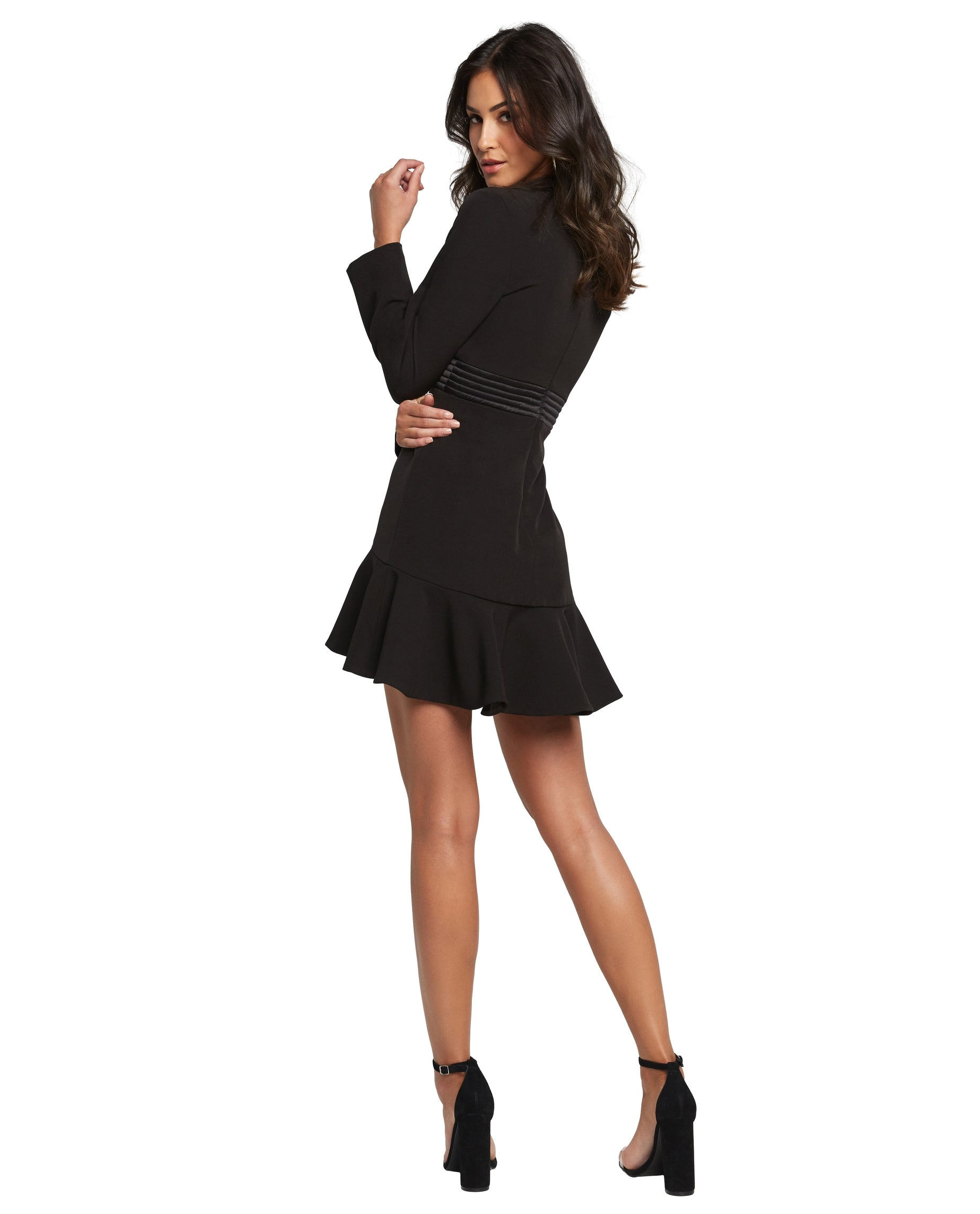 BARDOT MINI BLACK RUFFLE DRESS