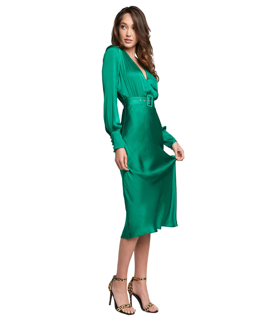 BARDOT SANDIEGO EMERALD MIDI DRESS
