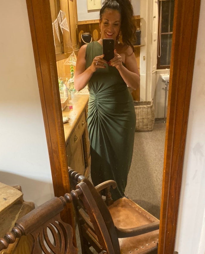GORGEOUS COUTURE GREEN ONE SHOULDERED MAXI DRESS