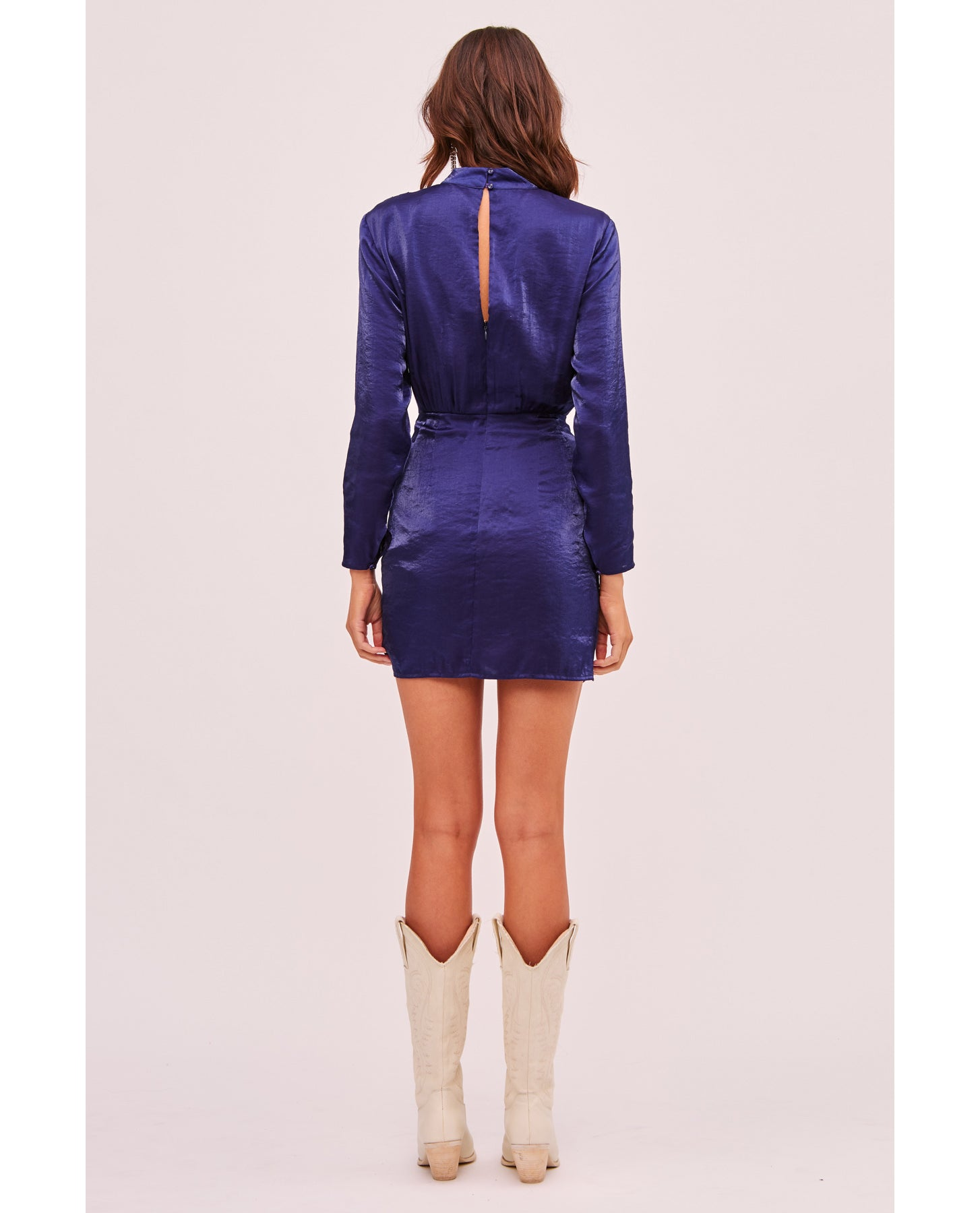 FINDERS KEEPERS YASMINE LS NAVY DRESS