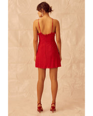 KEEPSAKE THE LABEL RED LACE MINI DRESS