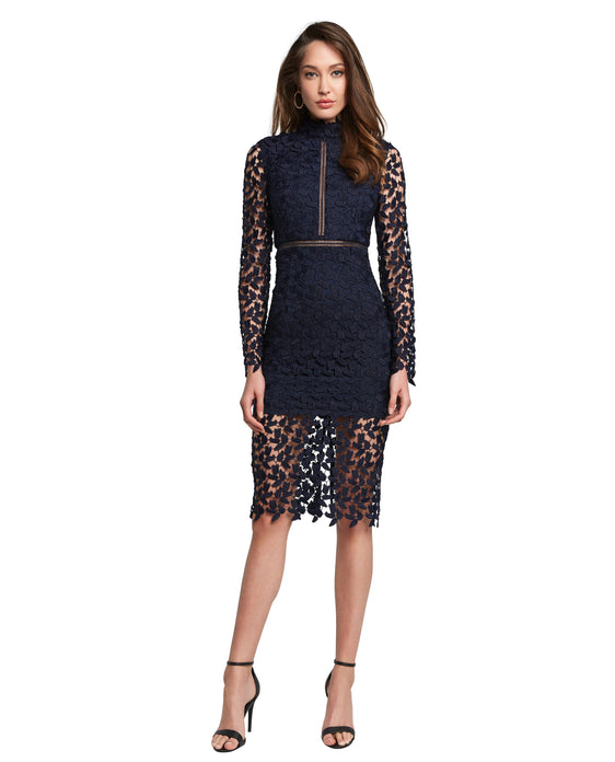 BARDOT ALBERTA NAVY MIDI DRESS