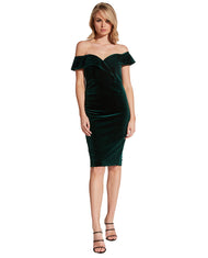 BARDOT BELLA VELVET DARK GREEN DRESS