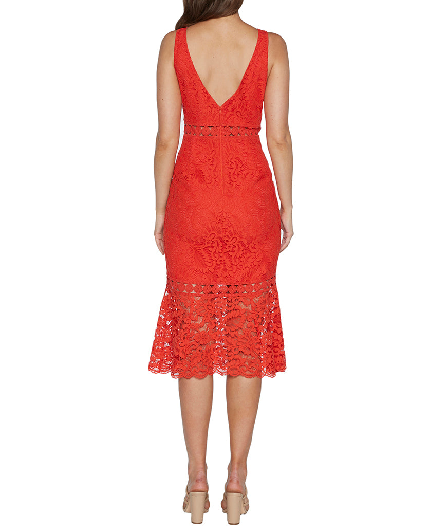 BARDOT RED TRUMPET LACE  MIDI DRESS