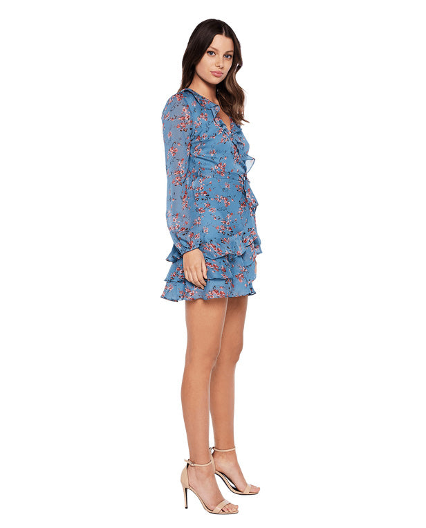 BARDOT BLUE ROSE DRESS WITH FRILL DETAIL