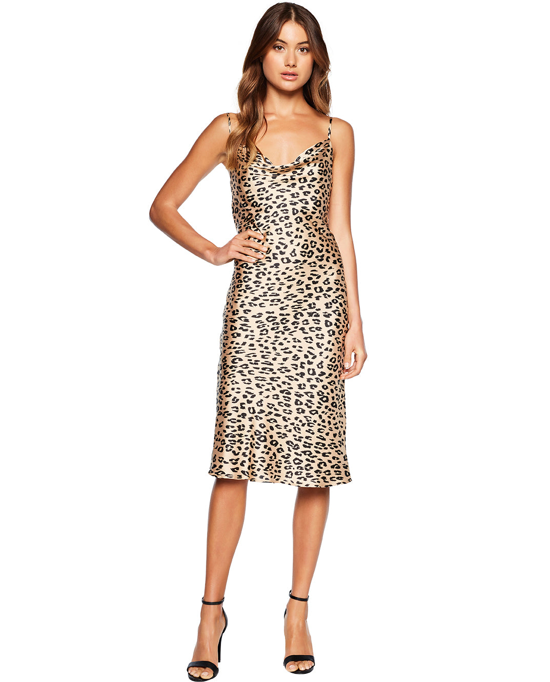 BARDOT LEOPARD PRINT SLIP DRESS