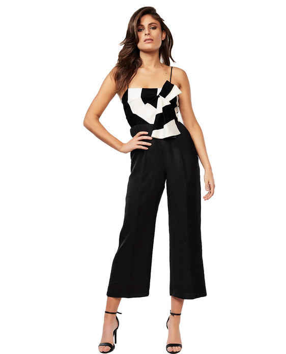 BARDOT BLACK AND WHITE STRIPE JUMPSUIT