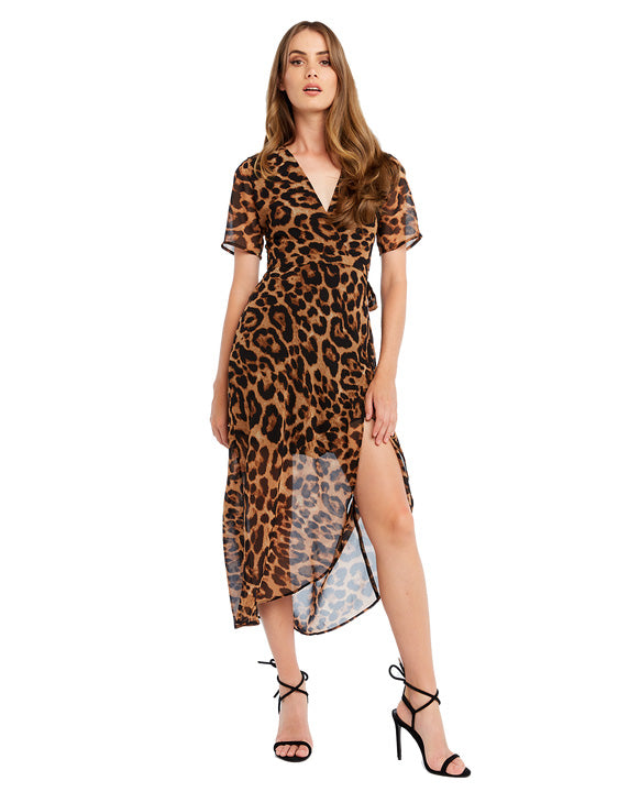 BARDOT MIDI LEOPARD PRINT WRAP DRESS