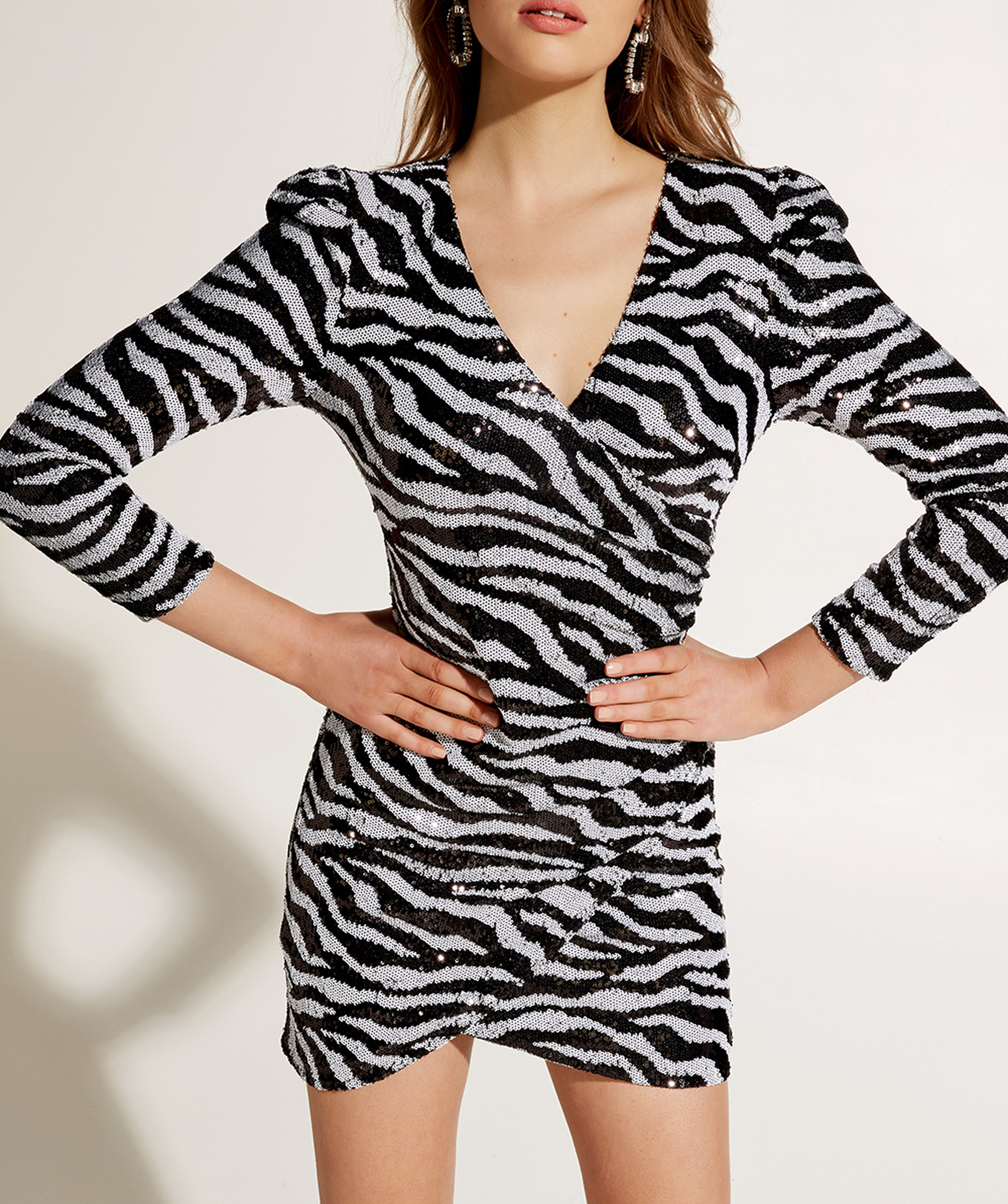 BARDOT SEQUIN ZEBRA DRESS