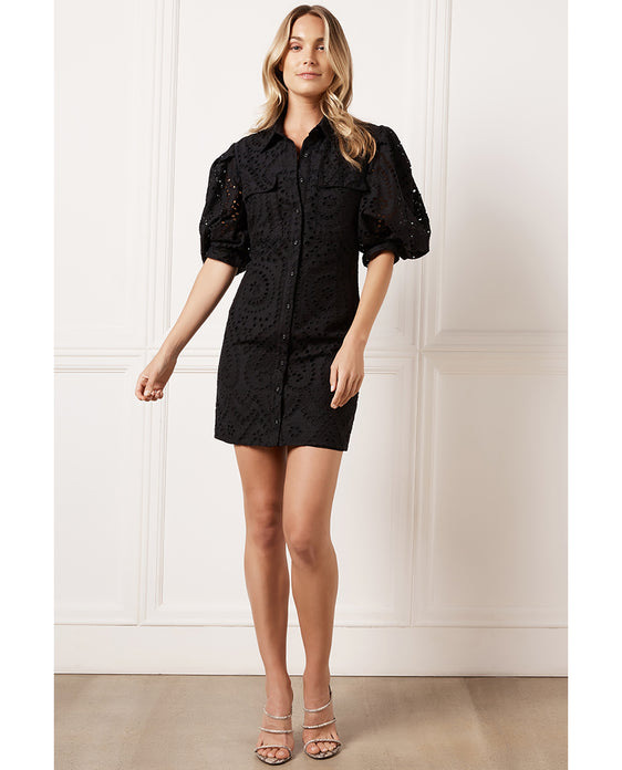 BARDOT BLACK BRODY MINI DRESS