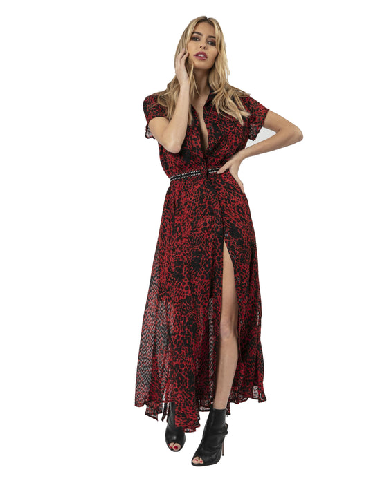RELIGION RED AND BLACK MAXI DRESS WITH FRONT BUTTON DETAIL