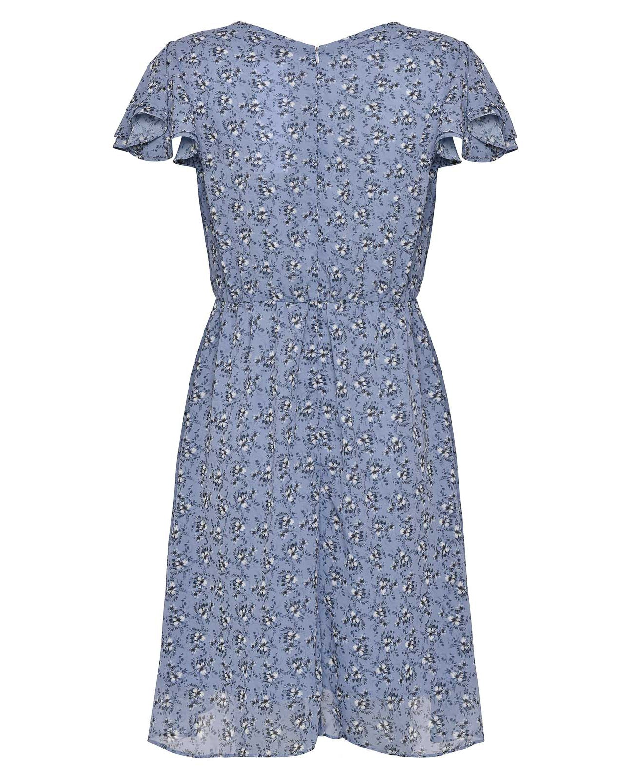 FRENCH CONNECTION BLUE FLORAL BELTED WRAP DRESS