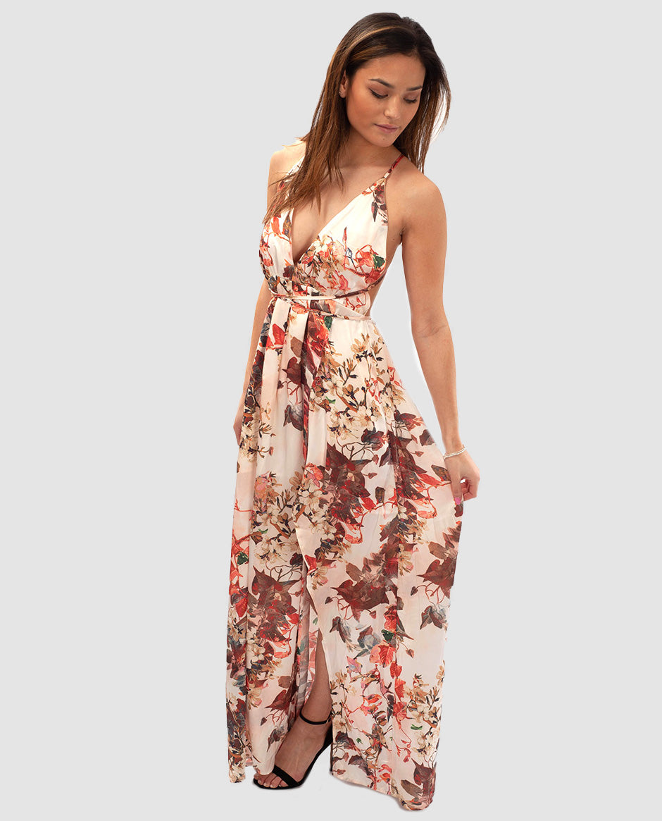 Hire FLORAL MAXI DRESS WITH CROSS BACK DETAIL