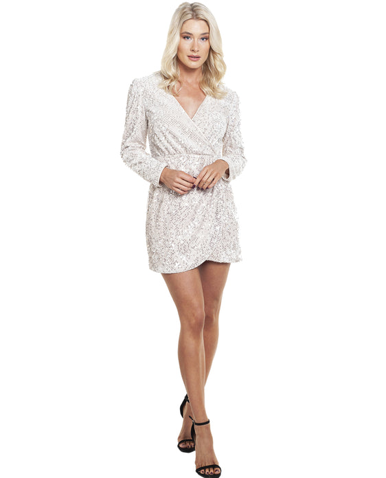 TALULAH SILVER SEQUIN FOR NOW MINI DRESS