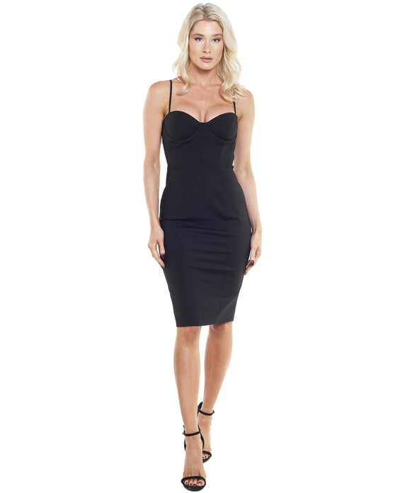 FRENCH CONNECTION FREYA GLASS STRETCH BODYCON BUSTIER DRESS