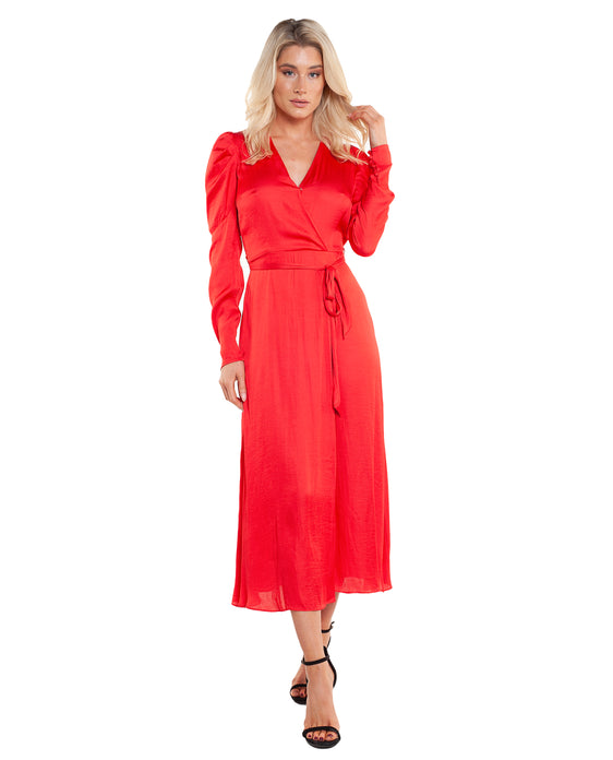 BARDOT FIRE RED ALIVA WRAP DRESS